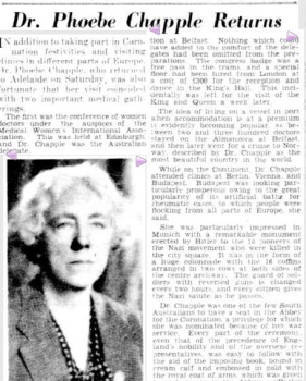 Figure3. Dr Phoebe Chapple returns. Adelaide Advertiser, Monday 18th October 1937, p6