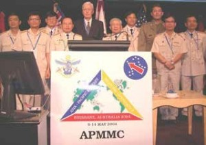 Figure 4: Key contributors to the Vietnam Australia Defence  Malaria  Project  attending  the  14th  Asia Pacific Military Medicine Conference, Brisbane,  May 2004. Front row (L to R): Senior Colonel Nguyen Xuan Thanh, Lieutenant General Cuong Tien Chu, Professor Karl Rieckmann, Professor Bui Dai, Lieutenant Colonel Michael  Edstein, Senior  Colonel Vu  Quoc Binh.