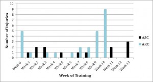 Figure 1:   Injuries sustained in individual weeks of   training