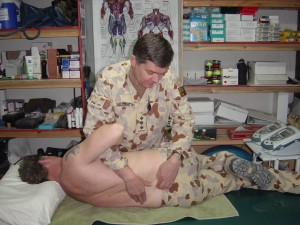 Picture 2. Performing a localised lumbar manipulation.